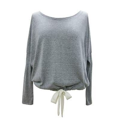 EBERJEY Heather Gray Slouchy Tee loungewear top long sleeve drawstring 2
