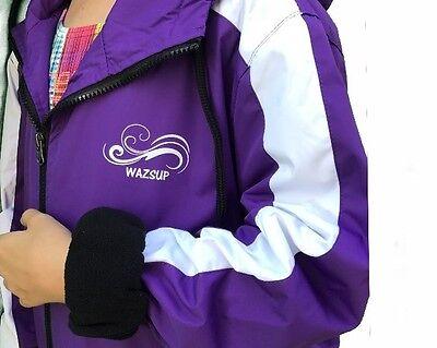 Swim Parka Wazsup Purple Large (pool deck coat, swim jacket, beach wear/robe)