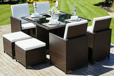 Rattan Garden Furniture Cube Set Chairs Table Outdoor Patio 2