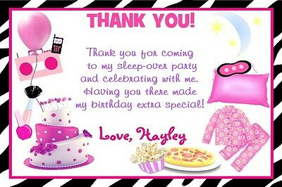 custom slumber party sleepover birthday party invitation thank u