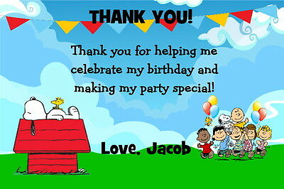SNOOPY PEANUTS GANG Custom Birthday Party Invitation Free Thank U