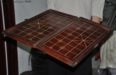"20"" Old chinese huanghuali wood Weiqi Of Go Chessboard Chess Checkerboard Tables 5"