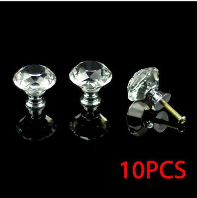 10 zinc alloy clear glass crystal sparkle cabinet drawer door pulls knobs handle 2