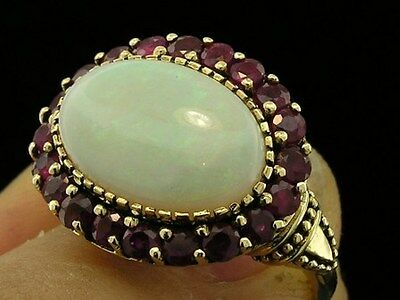 C970- Genuine 9K Gold Natural Australian Opal Cluster Cocktail Ring in your size