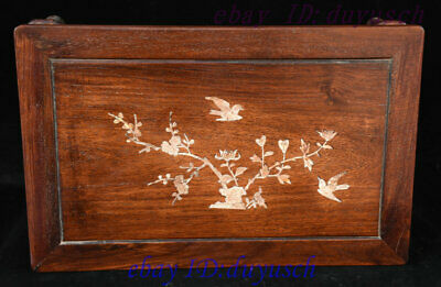 "21"" Chinese Huanghuali Wood Inlay shell Bird flowers Furniture table Desk Tables 4"