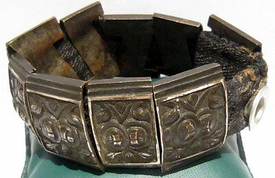 BEAUTIFUL ANTIQUE 1800s.SILVER BRACELET in 9 PARTS,AMAZING FLORAL DECORATION#21C 4