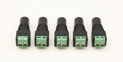 5X Female AC/DC Jack Plug Led Connector Adapter for Led Strip Light 5.5x2.1mm