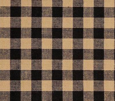 "Black & Khaki Tan Check Countrytyle Lined 100% Cotton Balloon Valance 60"" Wide 4"
