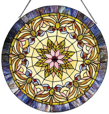 "22"" Round Victorian Stained Glass Window Panel Tiffany Style LAST ONE THIS PRICE 2"