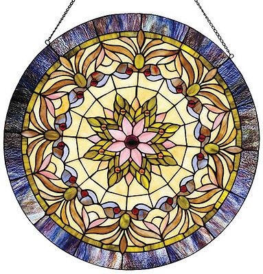 "Round Victorian Stained Cut Glass Window Panel 22"" Diamenter Suncatcher 2"