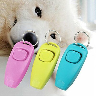 MULTI CLICKER WHISTLE EASY DOG PUPPY PET TRAINING Obedience Agility Keyring FREE