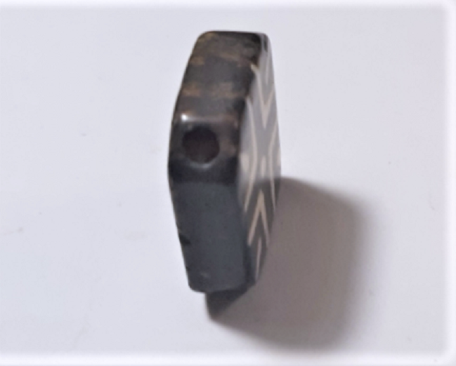 Antique Pumtek Pyu Diamond Tabular Cross Opalized Fossil Palm Wood Bead 25 mm 3