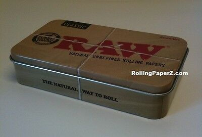 RAW Classic 1 1/4 Rolling Papers with Lighter, Hemp Wick, Tips and STORAGE TIN 4
