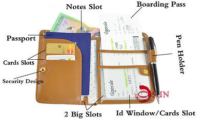 Travel Wallet Passport Holder Ticket Organizer Case Cover Pouch Faux Leather 2