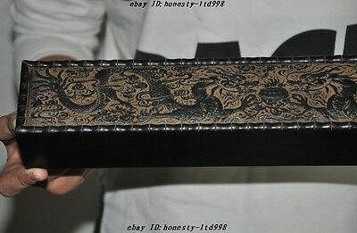 "15"" Chinese Rosewood Wood Carved 2 Dragon Statue Paintings Boxes calligraphy Box 7"