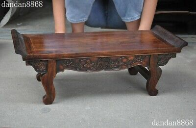 Old Chinese dynasty Huahuali Wood Carved Feng Shui animal bat Ancient Desk table 6