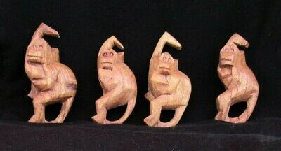 4 Vintage Wooden Hanging Monkeys Baboons Hand Carved Connecting Hook Mod Decor 5
