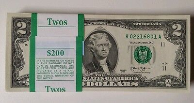 Crisp $2 Note from BEP Pack Lot of 10 brand new  Uncirculated Two Dollar Bill