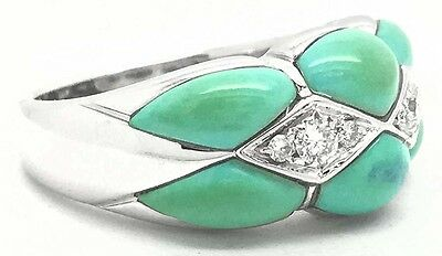 NATURAL TURQUOISE & DIAMONDS Elegant 18k White Gold RING, BANGLE, EARRINGS SET