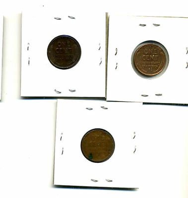 1942 P,d,s Wheat Pennies Lincoln Cents Circulated 2X2 Flips 3 Coin Pds Set#3165 2