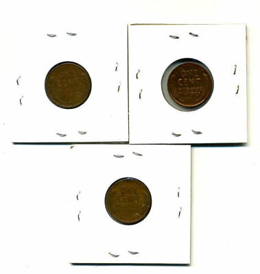 1942 P,d,s Wheat Pennies Lincoln Cents Circulated 2X2 Flips 3 Coin Pds Set#3179 2