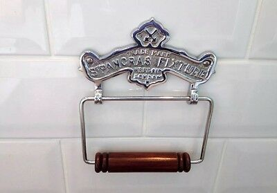 Vintage Toilet Roll Holder Shabby Chic Gold Brass Unusual Antique St Pancras Old 5