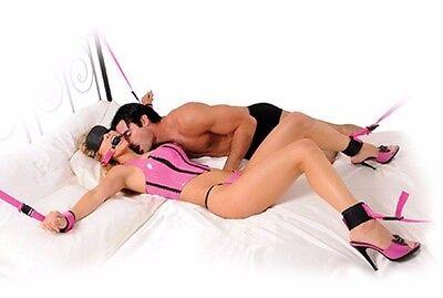 kit bondage morso cinghie per letto cavigliere manette fetish fantasy pink 4
