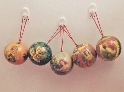 5 Vintage Paper Mache Christmas Ornaments Angel Round balls 5 Set 2
