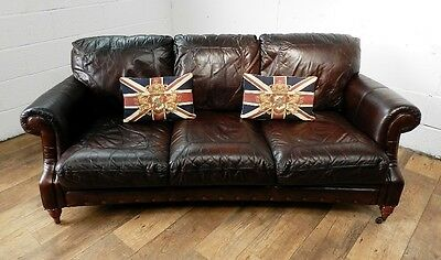 PAIR of VICTORIAN STYLE CIGAR BROWN STUD LEATHER CHESTERFIELD 3 SEATER SOFAS 9