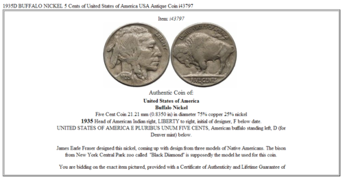 1935D BUFFALO NICKEL 5 Cents of United States of America USA Antique Coin i43797 3
