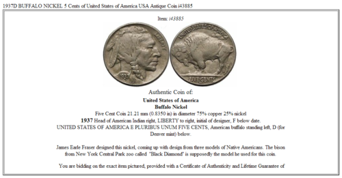 1937D BUFFALO NICKEL 5 Cents of United States of America USA Antique Coin i43885 3