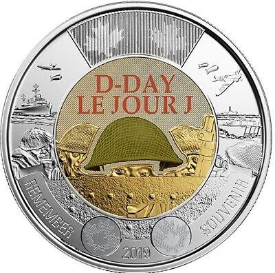 4 Canada coins: 2019 D-Day & 2018 Armistice Color & No-Color Toonie $2 BU UNC 2