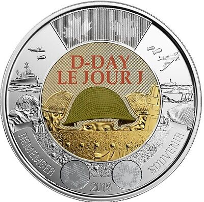 NEW! 2019 75th D-Day COLOURED + NO COLOUR UNC Canada $2 dollar toonie coins 2