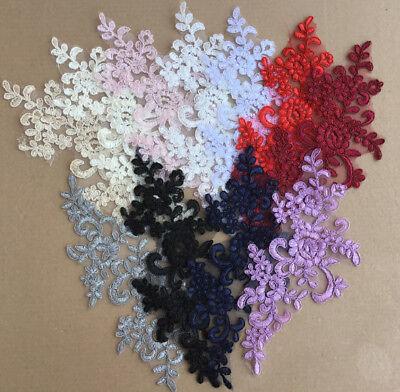 2 x  Lace Applique Wedding Motif Sew On size: 22 cm x 10 cm :#39 (9 Colours) 2