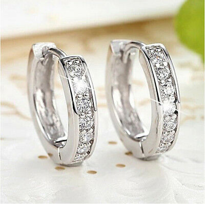 Women Silver Round Crystal Heart Hoop Ear Stud Earrings Wedding Bridal Jewelry 3