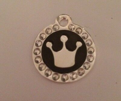 Pink Princess / Prince Crown Engraved Pet Tag / Disc with Diamantes  - Cat /Dog 6