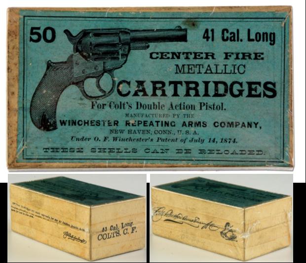Reproduction vintage Winchester .45 Colt Cartridge Box