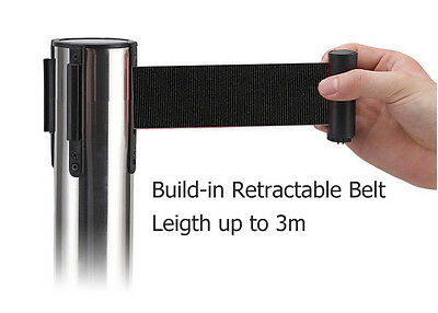 2x 3m Retractable Belt Queue Barriers Crowd Control Barrier Post Stand Stainless 4
