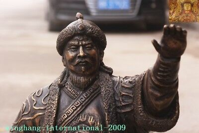 """Old Chinese Bronze copper Mongolia King Genghis Khan Jenghis Khan """"成吉思汗""""Statue 2"""