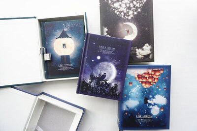 """Like a Dream"" 1pc Journal Notebook Lock Box Diary Cute Stationery Gift Package 3"
