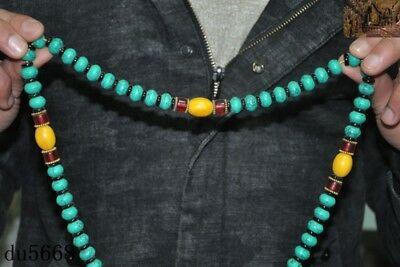 """16""""Old Tibetan Buddhism temple Beeswax turquoise Exorcism amulet necklace statue 2"""