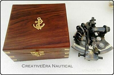 Nautical Antique Maritime Brass Sextant With Wooden Box Vintage Collectible 5'' 2