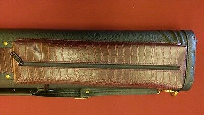 4x6 Pool Cue Case Black and Burgundy Lizard Texture