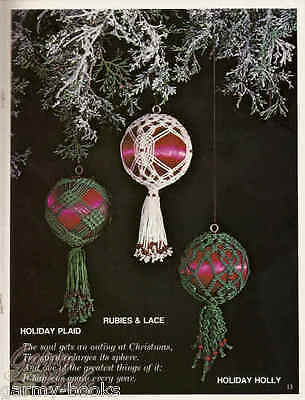 Merry Macrame Christmas Ornaments Sylvia Carroll Vintage Patterns Plaid 7316