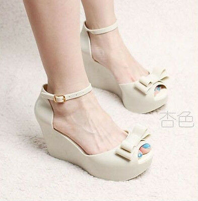 5b5552f2e979 ... Ladies Melissa Tops Bow Women s Wedge Platform Buckle jelly High Sandals  Shoes 4