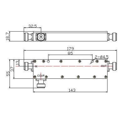 RF Coaxial Directional Coupler, 136-174MHz 40dB, 500 Watt 144MHz 2