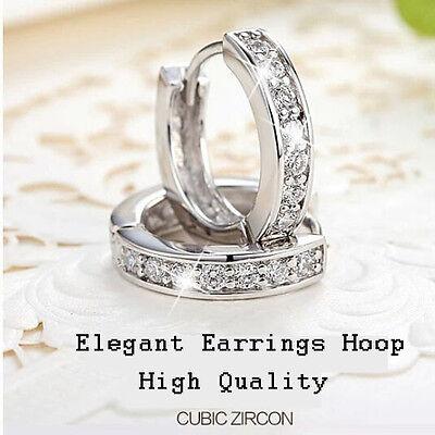 Women Silver Round Crystal Heart Hoop Ear Stud Earrings Wedding Bridal Jewelry 2