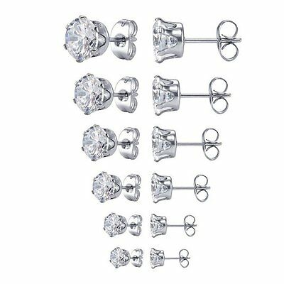 Surgical 316L Stainless Steel Stud Earrings Cubic Zircon Men Women 2PC 2