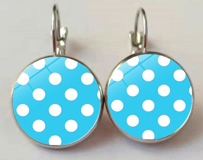 Boucles d/'oreilles retro vintage pin-up dormeuse cabochon verre couleurs pois