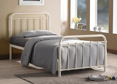 Miami Vintage Metal Bed Frame In Black Ivory Or Grey Finish Single Double King 5
